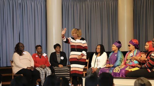 Gwen Carr, mother of Eric Garner, spoke to Rutgers students alongside other Mothers of the Movement to share how she turned her loss into social action. – Photo by Courtesy of Ashley Marion