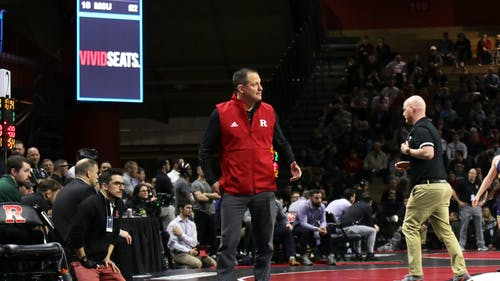 Head wrestling coach Scott Goodale will look to help the Scarlet Knights regroup and pick up their first win on Sunday. – Photo by Kelly Carmack / Photo Editor