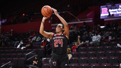 Fifth-year senior guard Arella Guirantes made the First Team All-Big Ten and the Big Ten All-Defensive Team, making her 1 of 3 Rutgers women's basketball players to earn accolades from the Big Ten. – Photo by Rutgers Women's Basketball / Twitter
