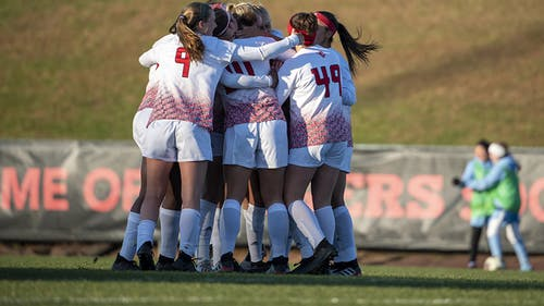 The Rutgers women's soccer team began their 2021 season by defeating the reigning Big Ten champions, Penn State, 3-2.  – Photo by Rutgers Women's Soccer / Twitter