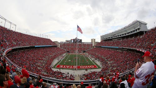 105,855 fans watch as the third quarter between the Rutgers football team and No. 2 Ohio State began at Ohio Stadium in Columbus, Ohio, Saturday. The stadium affectionately known as the Horseshoe for its shape is the third largest football stadium in the United States. – Photo by Dimitri Rodriguez