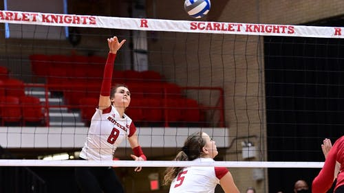 Junior middle blocker Shealyn McNamara, senior outside hitter Yana Kamshilina and the Rutgers volleyball team dropped to a 1-7 record for the season after losing two matches to Nebraska. – Photo by ScarletKnights.com