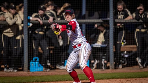 Sophomore infielder Payton Lincavage hit a two-run home run in Sunday's matchup against Wisconsin.  – Photo by Scarletknights.com