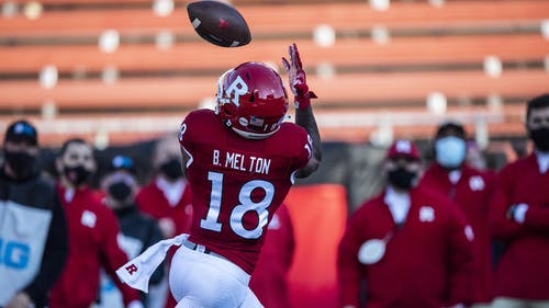 Senior wide receiver Bo Melton is set to lead a position group ready to make an impact in the 2021 season for Rutgers football.  – Photo by Ben Solomon / Scarletknights.com