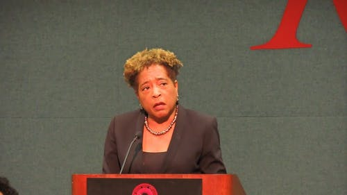 Deborah Gray White, chair of the Committee on Enslaved and Disenfranchised Populations at Rutgers, announced the group's recommendations in the College Avenue Student Center on Friday, including that a course on diversity be required for students.  – Photo by Nikhilesh De