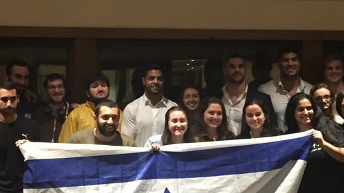 The three Israeli judo team members came to the Rutgers Hillel House, which is located on the College Avenue Campus. The event was organized by the Scarlet Knights for Israel, as well as the Jewish National Fund. – Photo by Catherine Nguyen