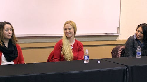 """Panelists Krista Kohlmann, Colleen Georges and Ebelia Hernandez share their life experiences and attempts to attain perfection in the first """"Awkward and Awesome Series"""" on Jan. 28 at the Douglass Student Center. – Photo by Colin Pieters"""