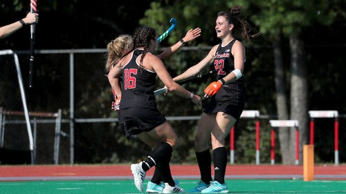 Senior back Kerrie Burns, freshman midfielder Lucy Bannatyne and the Rutgers field hockey team faced two formidable opponents over the weekend, losing to St. Joseph and defeating Syracuse. – Photo by Scarletknights.com