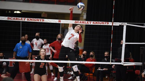 During Friday's match, freshman libero/defensive specialist Madyson Chitty had 19 digs while junior outside hitter Anastasiia Maksimova had double-digit kills. – Photo by Rutgers Volleyball / Twitter