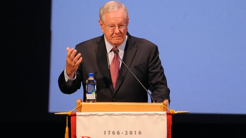 Steve Forbes, editor-in-chief of Forbes Magazine and chairman of Forbes Media, spoke about how to be an effective leader to just over 750 Rutgers Business School students, alumni and guests on Sunday. – Photo by Dimitri Rodriguez