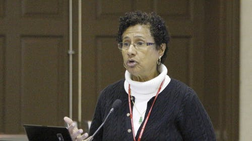 """Denise Rodgers, vice chancellor for the Interprofessional Programs in Rutgers Biomedical and Health Sciences, speaks on the issue of low health literacy at yesterday's Nicholas Foundation and Rutgers Healthcare Delivery Innovation Competition's """"Idea-thon"""" at Trayes Hall. – Photo by Edwin Gano"""