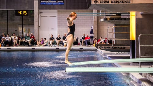 Junior Jenna Douglass set a personal record on the 1-meter dive, scoring a 274.80 – Photo by Rutgers Swimming & Diving / Twitter