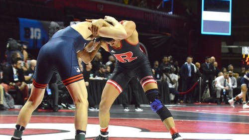 Graduate student 141-pounder Sebastian Rivera secured a 7-6 victory against Purdue. – Photo by The Daily Targum