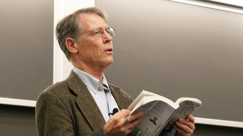 """On Wednesday, Kim Stanley Robinson spoke alongside a panel of Rutgers faculty about his book """"New York 2140,"""" which paints a picture of the world 100 years from now under pressure from rising sea levels. – Photo by Jeffrey Gomez"""