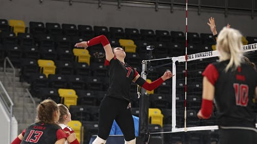 Junior outside hitter Anastasiia Maksimova and the Rutgers volleyball team picked up their second win of the 2021 season in its series split with Iowa.  – Photo by Scarletknights.com