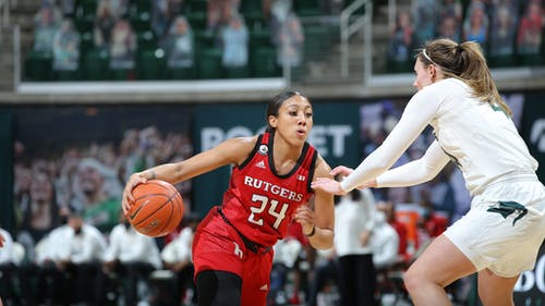 Fifth-year senior guard Arella Guirantes was named a finalist for the Ann Meyers Drysdale Award, solidifying her place as one of the nation's top shooting guards.  – Photo by Rutgers Women's Basketball / Twitter