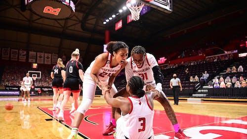 Fifth-year senior guard Arella Guirantes, senior foward Tekia Mack and freshman guard Diamond Johnson combined for 65 points in Rutgers' win against Nebraska. – Photo by Rutgers Women's Basketball / Twitter