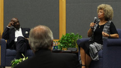 Angela Davis spoke at the College Avenue Student Center on Wednesday night about race relations and her experiences as a political activist. – Photo by Alexandra DeMatos