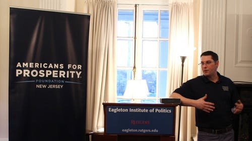Daryn Iwicki, state director for Americans for Prosperity New Jersey, spoke about the national debt and how it continues to grow at a University lecture. – Photo by Achint Raince