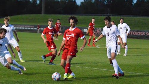 Freshman forward Nico Rosamilia, junior midfielder Jackson Temple and the Rutgers men's soccer team will host Wisconsin on Friday at Yurcak Field. – Photo by Benjamin Chelnitsky