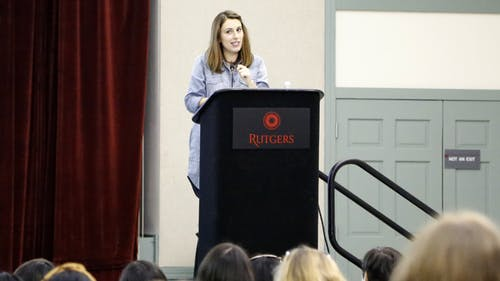 Rutgers alumna and feminist Jessica Valenti speaks about women and gender issues at Trayes Hall at the Douglass Student Center last night. – Photo by Tianfang Yu