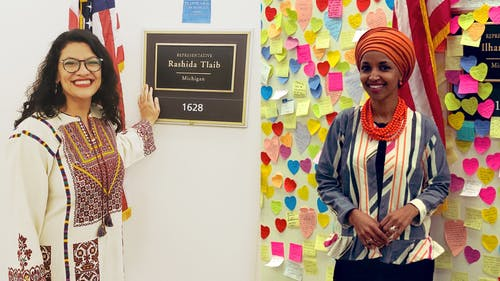 """Reps. Rashida Tlaib (D-Mich.) and Ilhan Omar (D-Minn.) wore their respective cultural clothes to honor what it means to be """"American."""" – Photo by Twitter"""