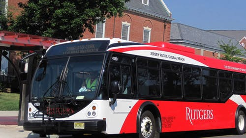 Rutgers buses are still running, but are not operating under the same schedule. Masks are required and the bus schedules differ from how they are normally during the semester.  – Photo by Rutgers.edu