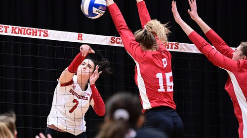 Junior outside hitter Anastasiia Maksimova had four kills in the opening set against Indiana.  – Photo by Rutgers Volleyball / Twitter