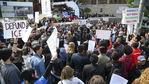 A mass of protestors gathered outside of the Immigration and Customs Enforcement(ICE) headquarters in Newark, New Jersey today in support of undocumented Rutgers student CarimerAndujar. – Photo by Photo by Dimitri Rodriguez | and Dimitri Rodriguez The Daily Targum