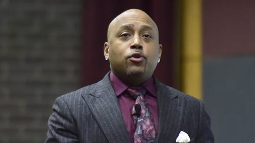 "Daymond John, a judge on ABC's ""Shark Tank,"" told the story of his journey to stardom yesterday at a Rutgers University Programming Association event at the College Avenue Student Center as part of Leadership Week. – Photo by Tian Li"