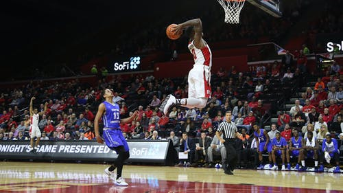 Junior guard Nigel Johnson throws down a breakaway dunk in the final minute of the first half of Rutgers 79-37 win over Central Connecticut State Tuesday night at the Rutgers Athletic Center. Johnson led the Scarlet Knights with 16 points in their most complete performance so far this season. – Photo by Photo by Dimitri Rodriguez | The Daily Targum