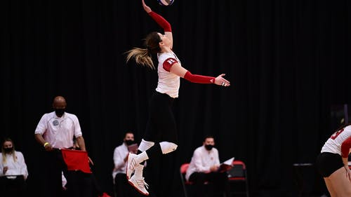 Senior right-side hitter Beka Kojadinovic produced five kills to give Rutgers a win on the third set on Wednesday.  – Photo by Scarletknights.com
