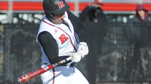 Fifth-yearseniorfirst baseman Chris Suseck swings to hit a 3-run home run thatpropelledRutgers to a11-3 win over Lafayette in its home openerWednesday. Suseck had a career day at the plate, going4-for-5 anddriving in 5 runs. – Photo by Dimitri Rodriguez