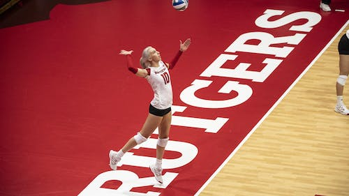 Senior setter Inna Balyko recorded the 700th dig of her career over the weekend as the Rutgers volleyball team won 2 of its 3 games at the Rutgers 9/11 Memorial Tournament.  – Photo by Scarletknights.com