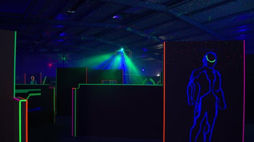 Most lasertag venues are dark and have neon lights, but Bullseye Lasertag is well-lit.