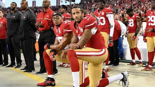 Colin Kaepernick, a professional football player, began kneeling during the national anthem to protest against police brutality.