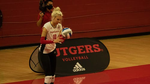 Senior setter Inna Balyko looks to add onto her 450 assists this season as the Rutgers volleyball team faces Indiana and Nebraska this weekend.  – Photo by Olivia Thiel