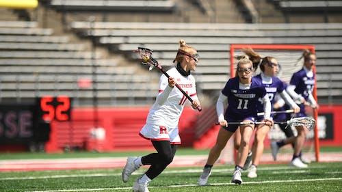 Senior attacker Taralyn Naslonski scored 3 goals, bringing her over the 100 career goal milestone. – Photo by Rutgers Women's LAX / Twitter