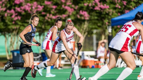 Midfielders senior Katie Larmour and freshman Lucy Bannatyne look to lead the Rutgers field hockey team as they get set for a ranked opponent in No. 6 UConn on Friday night. – Photo by Rutgers Field Hockey / Twitter