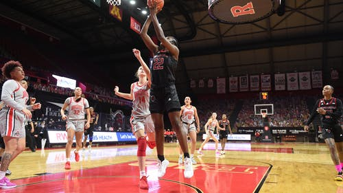 Sophomore forward Tyia Singleton has contributed 25 of Rutgers' 96 blocks and leads the Knights with 6.6 rebounds per game this season. – Photo by Rutgers Women's Basketball / Twitter