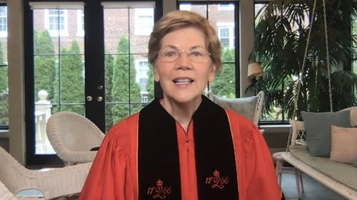Sen. Elizabeth Warren (D-Mass.) spoke about the importance of having women in positions of power who have the confidence to advocate for bigger ideas.  – Photo by Youtube