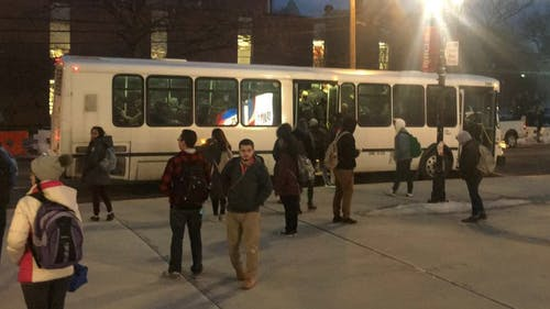 University administrators do not plan to reimplement the bus shelters at Scott Hall. The Director of Transportation said they are currently working to fix service for the arrival boards at the stop. – Photo by Jeffrey Gomez