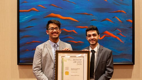 Rutgers graduate Edwin Gano (left) and School of Environmental and Biological Sciences senior Giovanni Caputo (right) were the only students to be given an award at this year's annual American Society of Landscape Architects meeting. – Photo by Courtesy of Giovanni Caputo