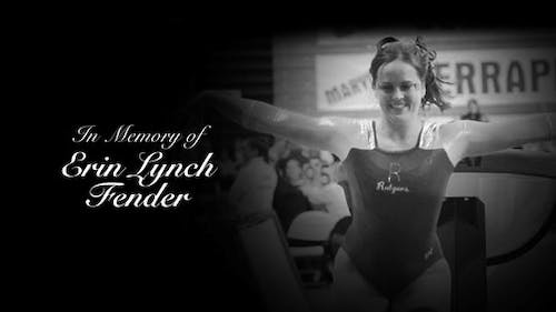 Alumna Erin Lynch Fender competed in vault, balance beam and floor for the Scarlet Knights. – Photo by Rutgers Gymnastics / Facebook