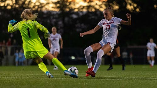 Freshman forward Riley Tiernan provided two goals as the Rutgers women's soccer team lost a thrilling 4-3 game to Princeton.  – Photo by Dustin Satloff / Scarletknights.com