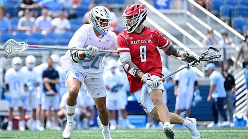 Graduate student attacker Adam Charalambides scored 4 goals as the Rutgers men's lacrosse team fell to North Carolina in overtime, ending their 2021 season.  – Photo by Scarletknights.com