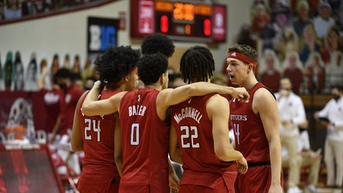 Junior guard Ron Harper Jr., senior guard Geo Baker, junior guard Caleb McConnell and sophomore guard Paul Mulcahy helped Rutgers end its five-game losing streak yesterday. – Photo by Rutgers Men's Basketball / Twitter