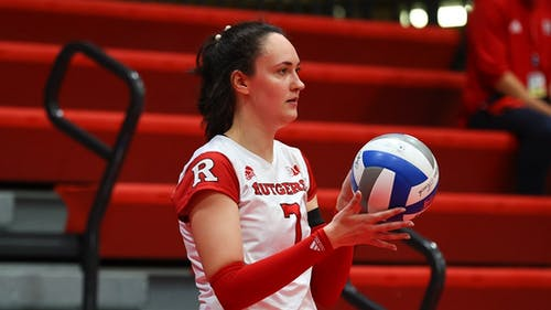Junior outside hitter Anastasiia Maksimova earned a career-best 14 digs and four aces in Wednesday's game against Maryland. – Photo by Scarletknights.com