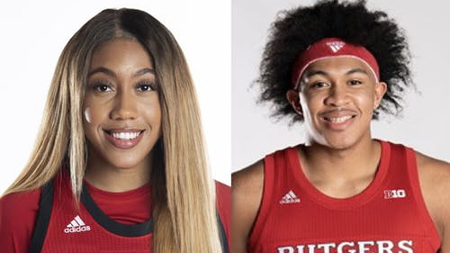 Junior forward Ron Harper Jr. and senior guard Arella Guirantes are centerpieces of the Rutgers men's and women's basketball teams, respectively. – Photo by Scarletknights.com