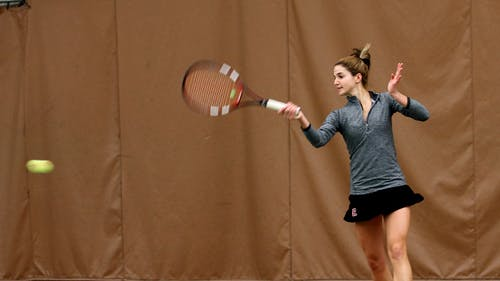 Senior Lindsay Balsamo and her partner, freshman, Chloe Lee were one of two doubles teams to sweep the competition against Seton Hall at East Brunswick Racquet Club on Wednesday.